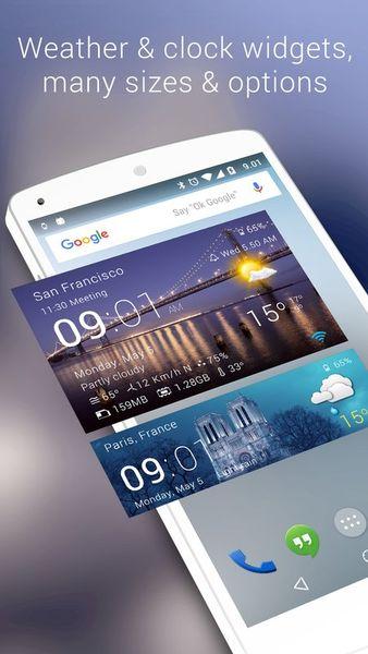 Скачать Прозрачные часы и погода на Андроид screen 1