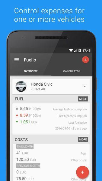 Скачать Fuelio: топливо и расходы на Андроид screen 1