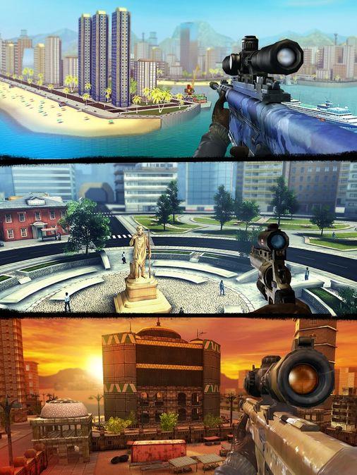 Скачать Sniper 3D Assassin на Андроид — Мод на деньги и алмазы screen 3
