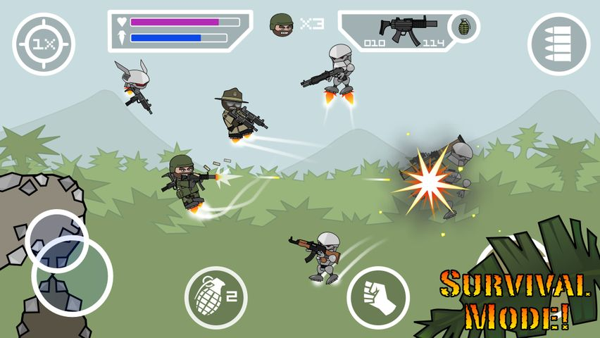 Скачать Doodle Army 2 : Mini Militia на Андроид — Мод все открыто screen 4