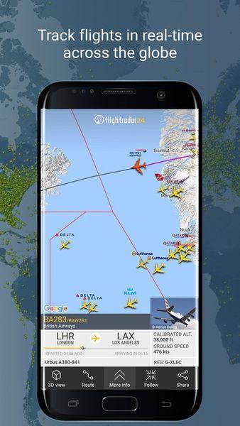 Скачать Flightradar 24 на Андроид screen 1