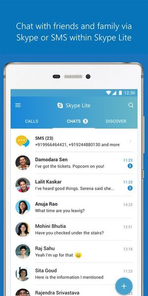 Скачать Skype Lite на Андроид screen 1