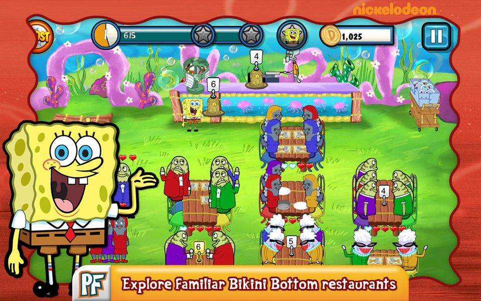 Скачать SpongeBob Diner Dash на Андроид screen 1