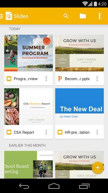 Скачать Google Презентации на Андроид screen 1