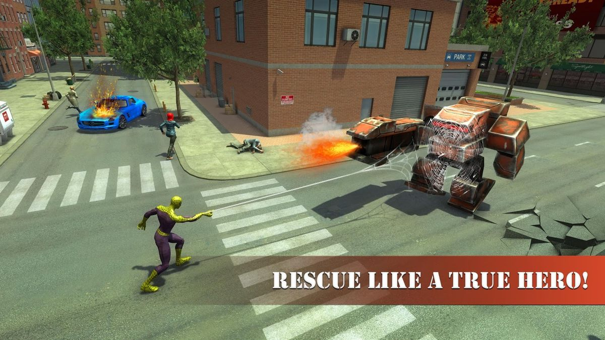 Скачать Super Spider Rescue Hero на Андроид screen 1