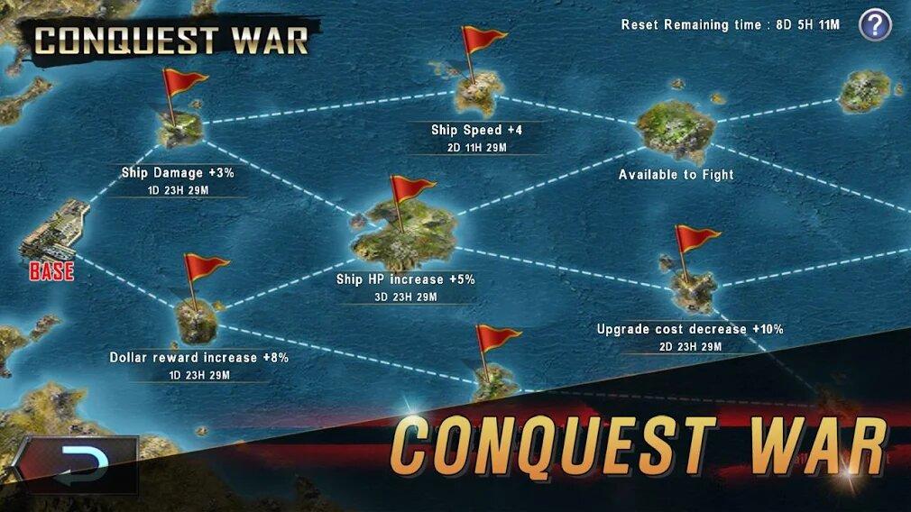 Скачать Морская битва: Мировая война на Андроид — Мод (Много денег) screen 3